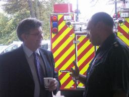 David Howarth and fire officer