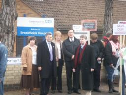 David Howarth and councillors join the protestors outside Brookfields Hospital
