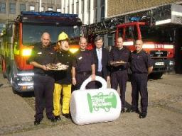 David Howarth joins Fireman Sam and firefighters for the charity coffee morning
