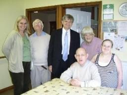 David Howarth meets some of the residents at one of the Mencap homes in Milton