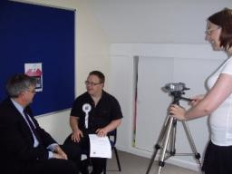 David Howarth filming to promote the vote
