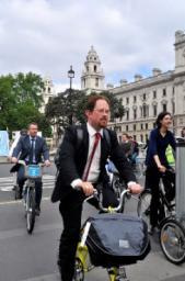 Huppert on Parliamentary Bike Ride
