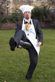 Julian in Parliamentary Pancake Race for Rehab charity