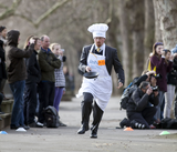 Julian in Parliamentary Pancake Race