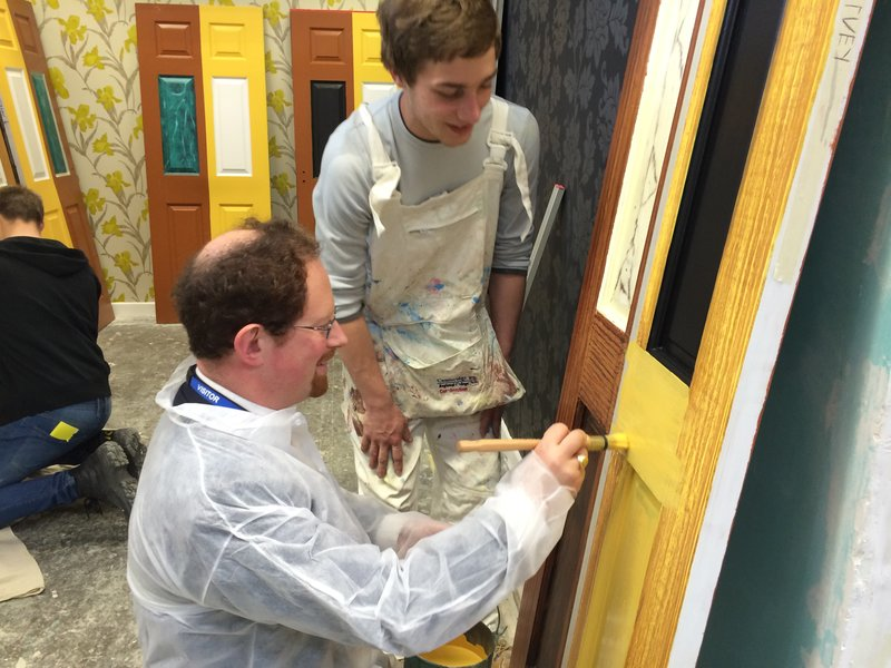 Julian Huppert meets painting apprentice Harvey Ashworth at Prime Finish