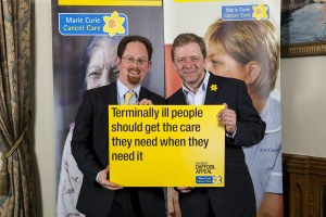 Julian Huppert meets comedian Jon Culshaw at Marie Curie Cancer Care event