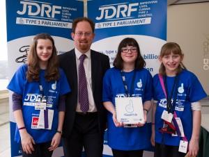 Julian Huppert meets Diabetes sufferers Sarah Warren, Katie Pole, Emma Bailey