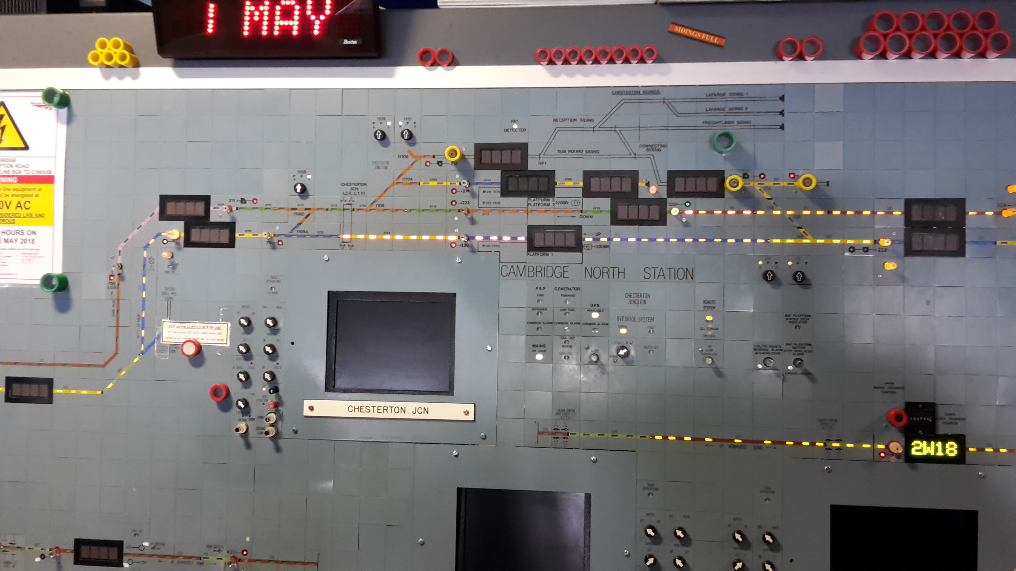 The Cambridge Signalbox panel, showing the display for Chesterton Jn Level Crossing