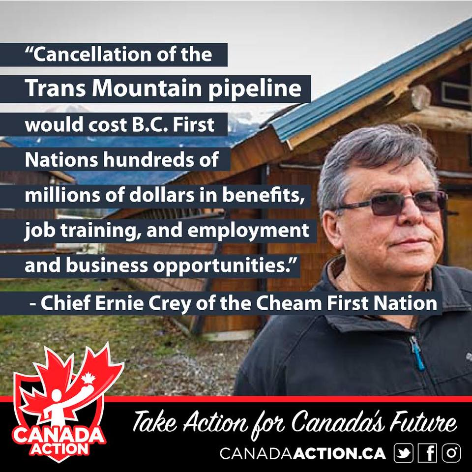 quote from First Nation Chief in support of pipeline