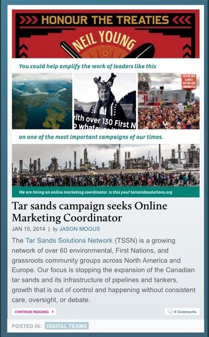 Tar Sands Solution Network: Hiring