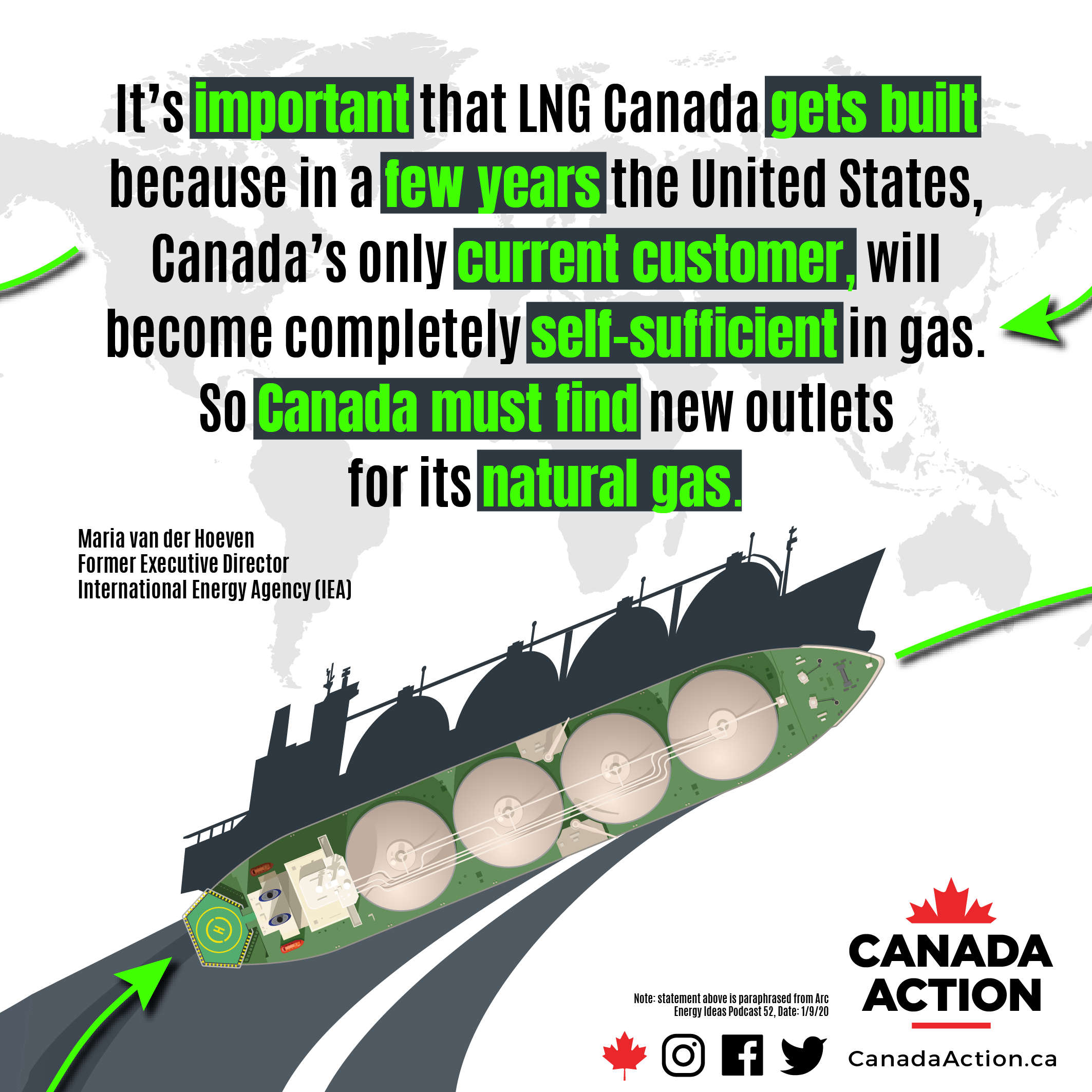 LNG Canada must get built because USA will become self-sufficient in natural gas soon