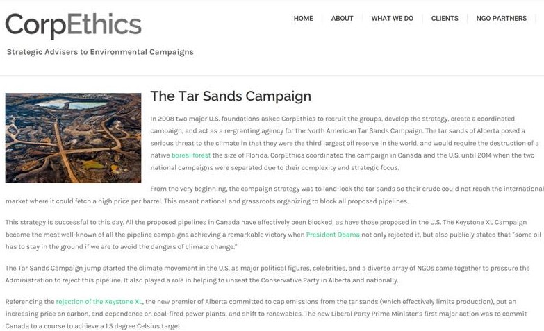 tar sands campaign original mission statement