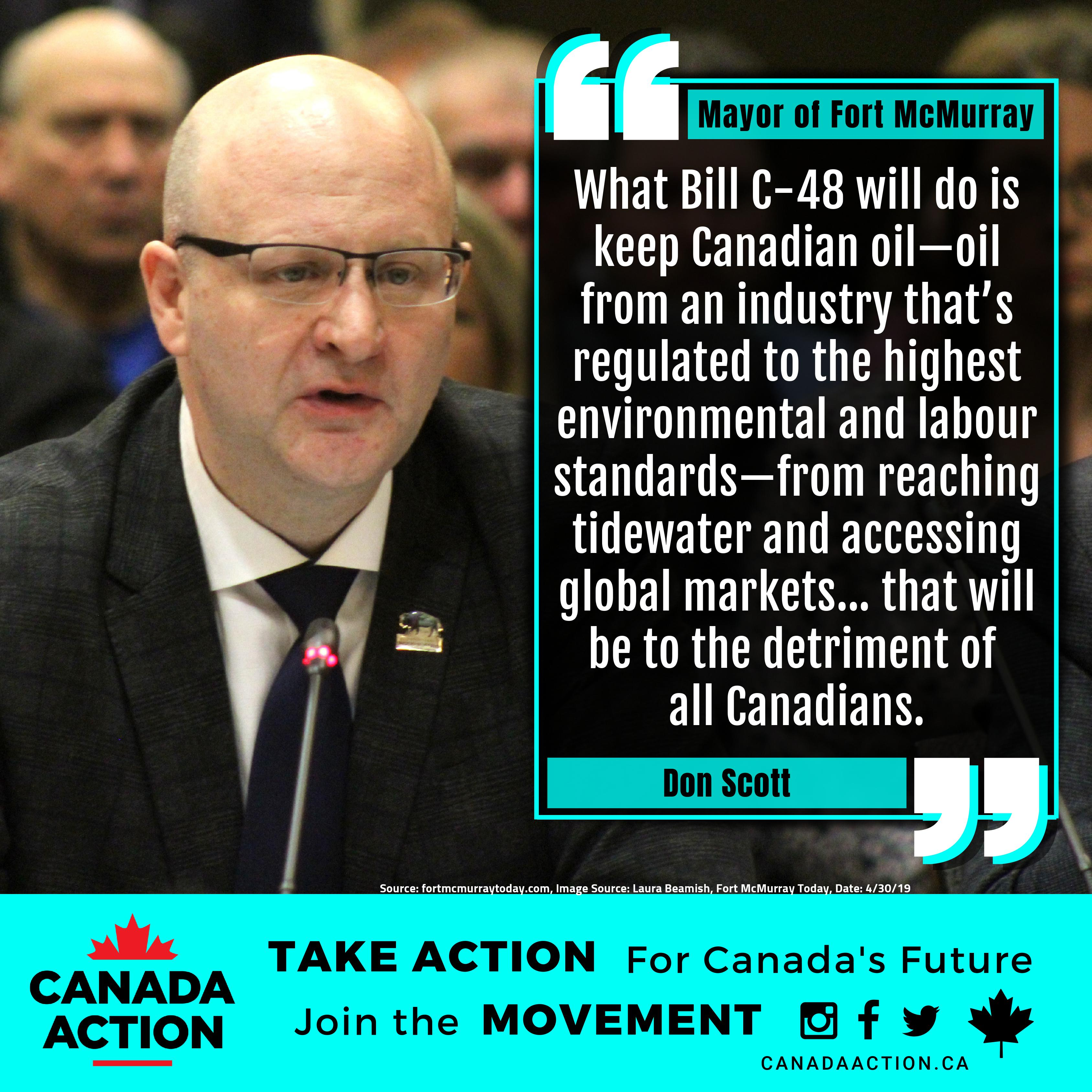 Mayor Fort McMurray Don Scott Opposes Bill C-48