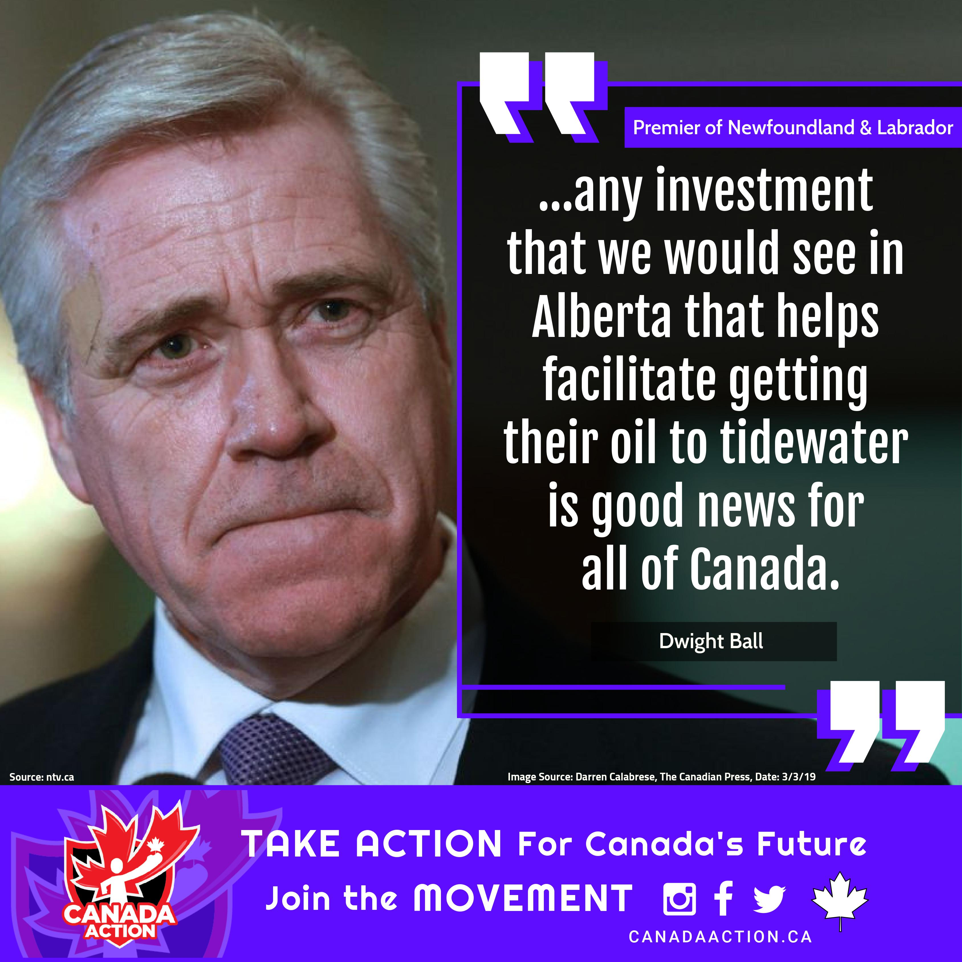 Dwight Ball, Premier of Newfoundland & Labrador, supports the Trans Mountain pipeline expansion