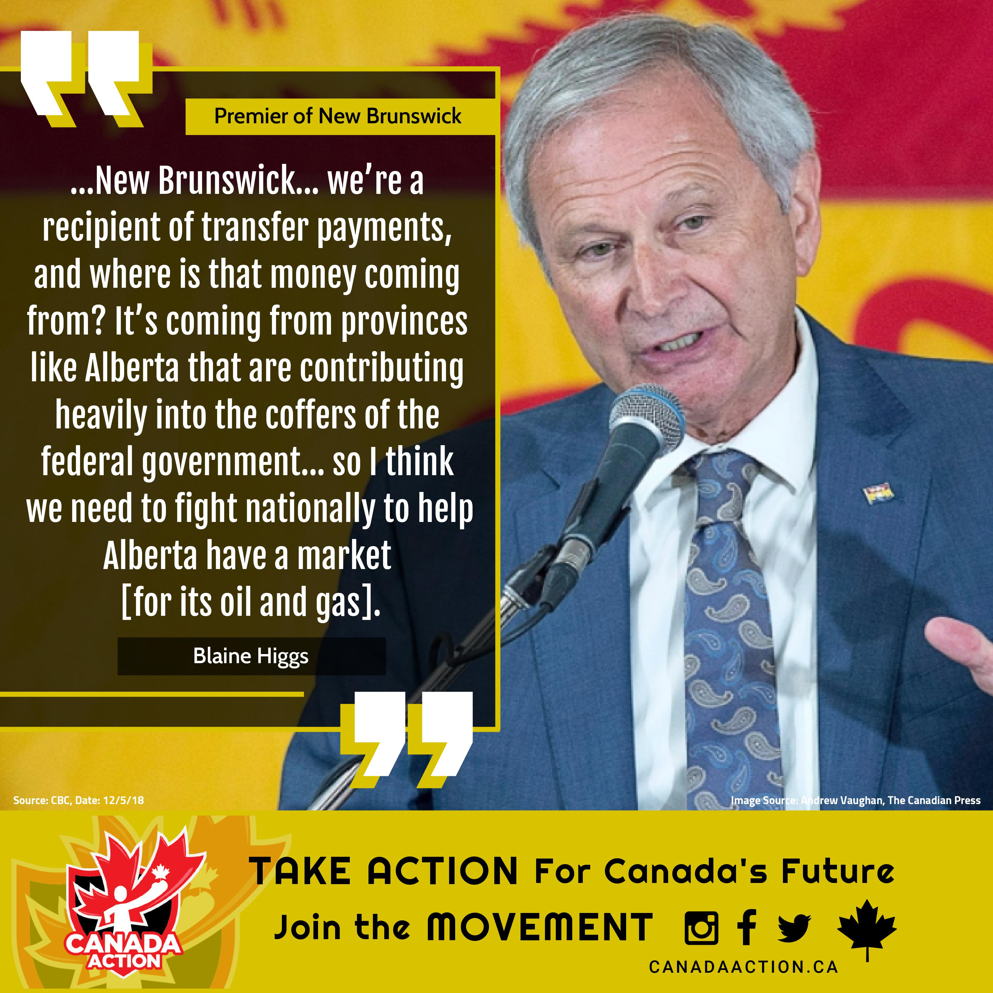 Blaine Higgs Premier of New Brunswick supports the Trans Mountain pipeline expansion