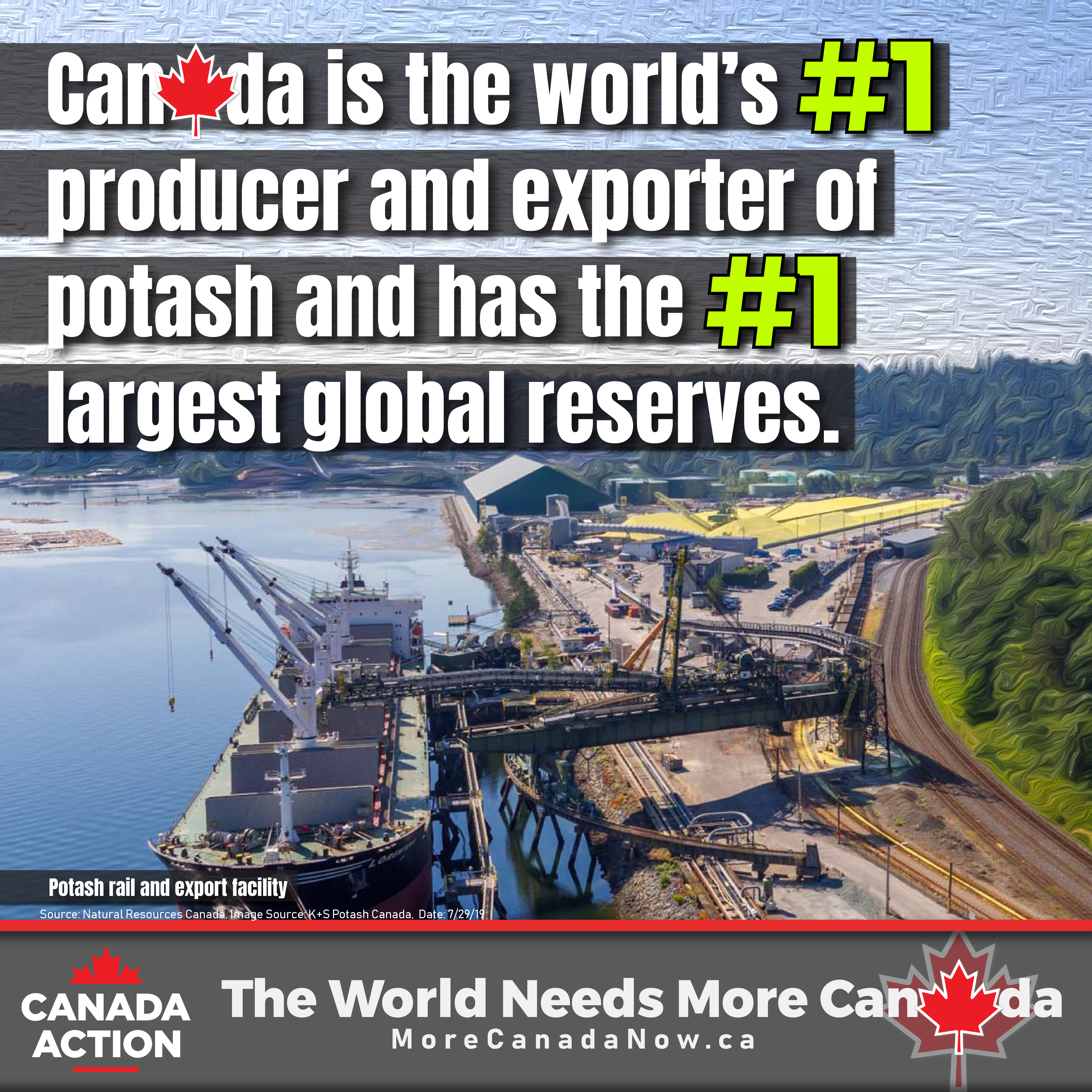 Canada is the world's top potash producer and exporter