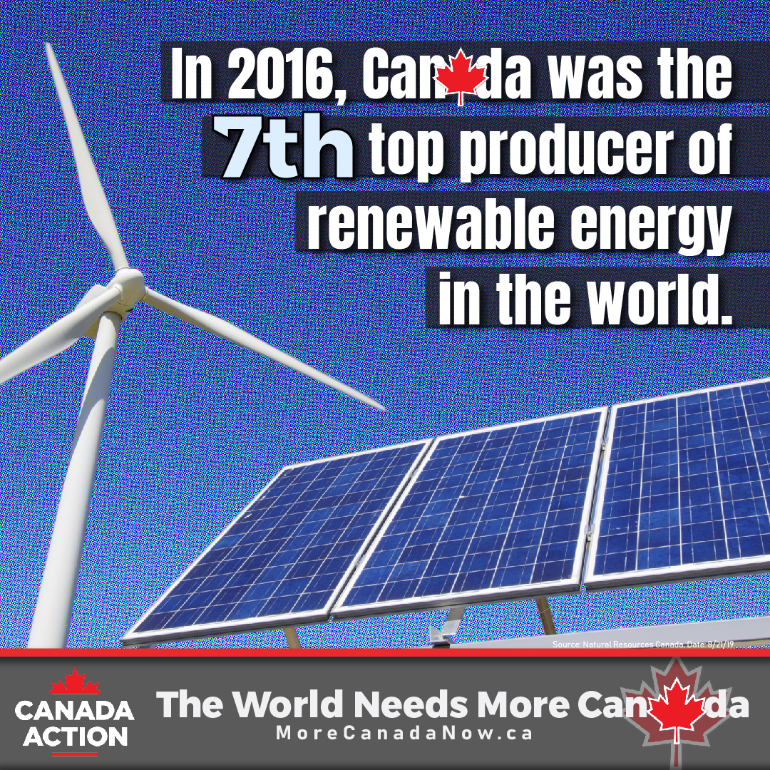 In 2016, Canada was the 7th largest renewable energy producer in the world