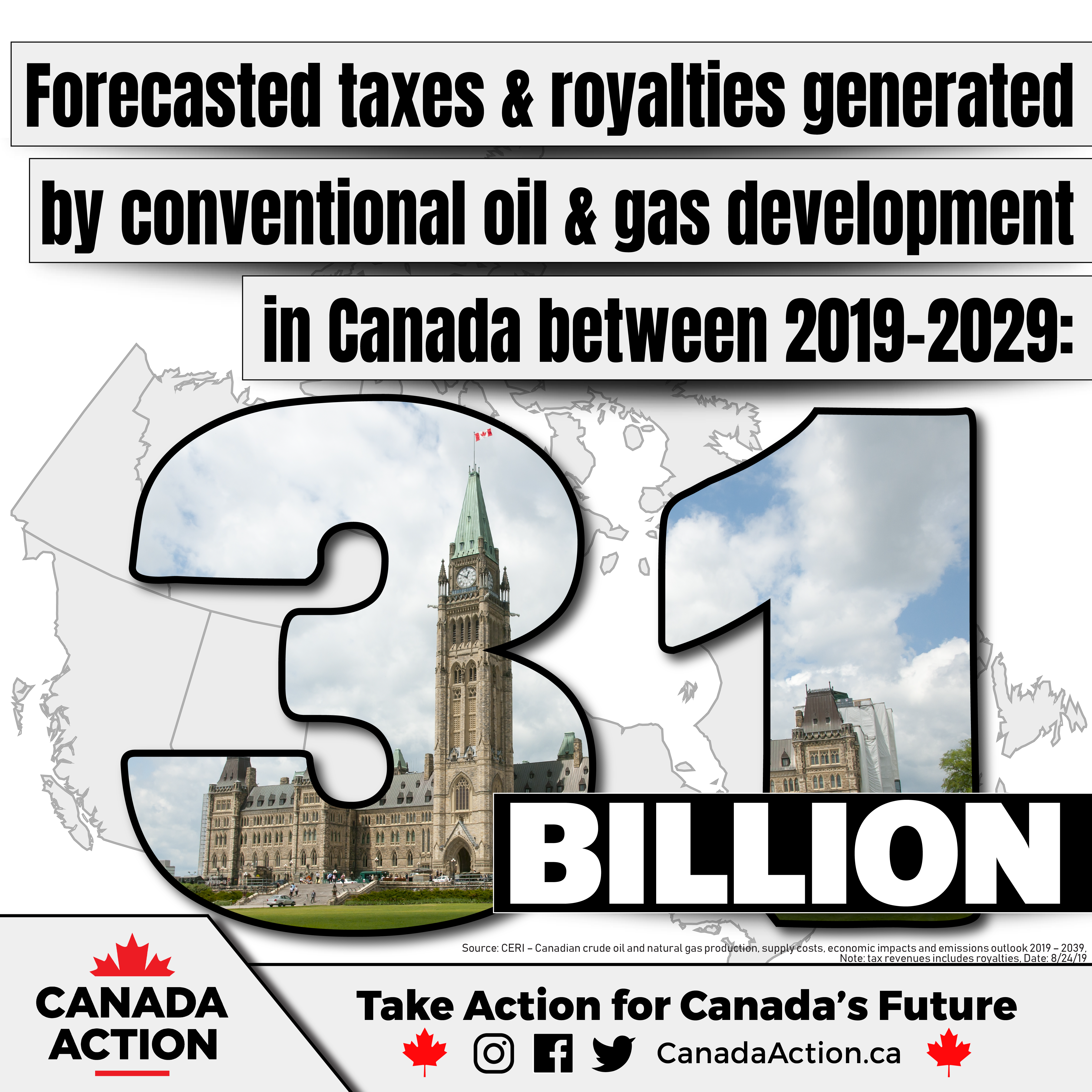 Canada's oil and gas industry will contribute $31.4 billion to government revenues between 2019-2029