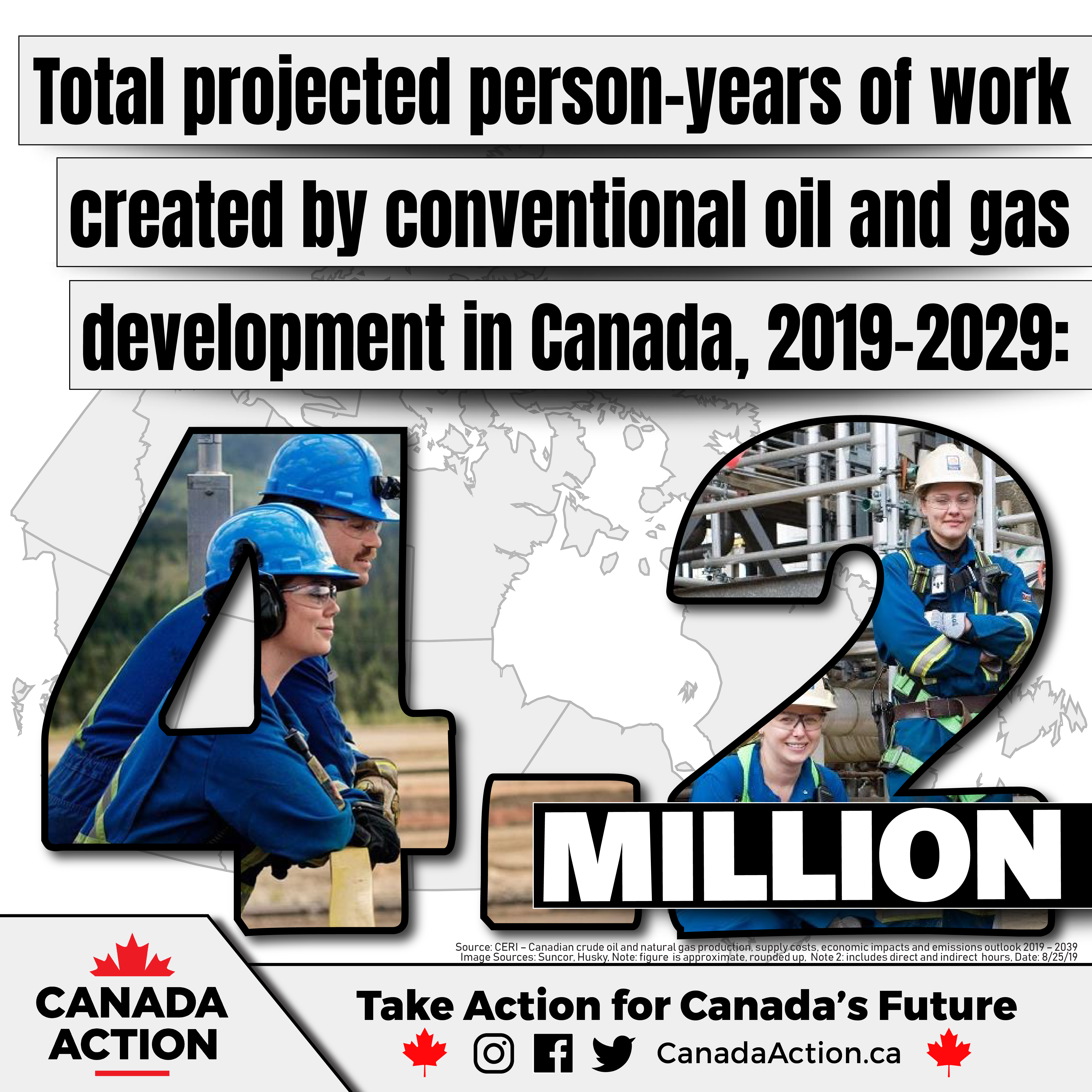 Person-years of employment resulting from conventional oil and gas development in Canada - 2019-2029