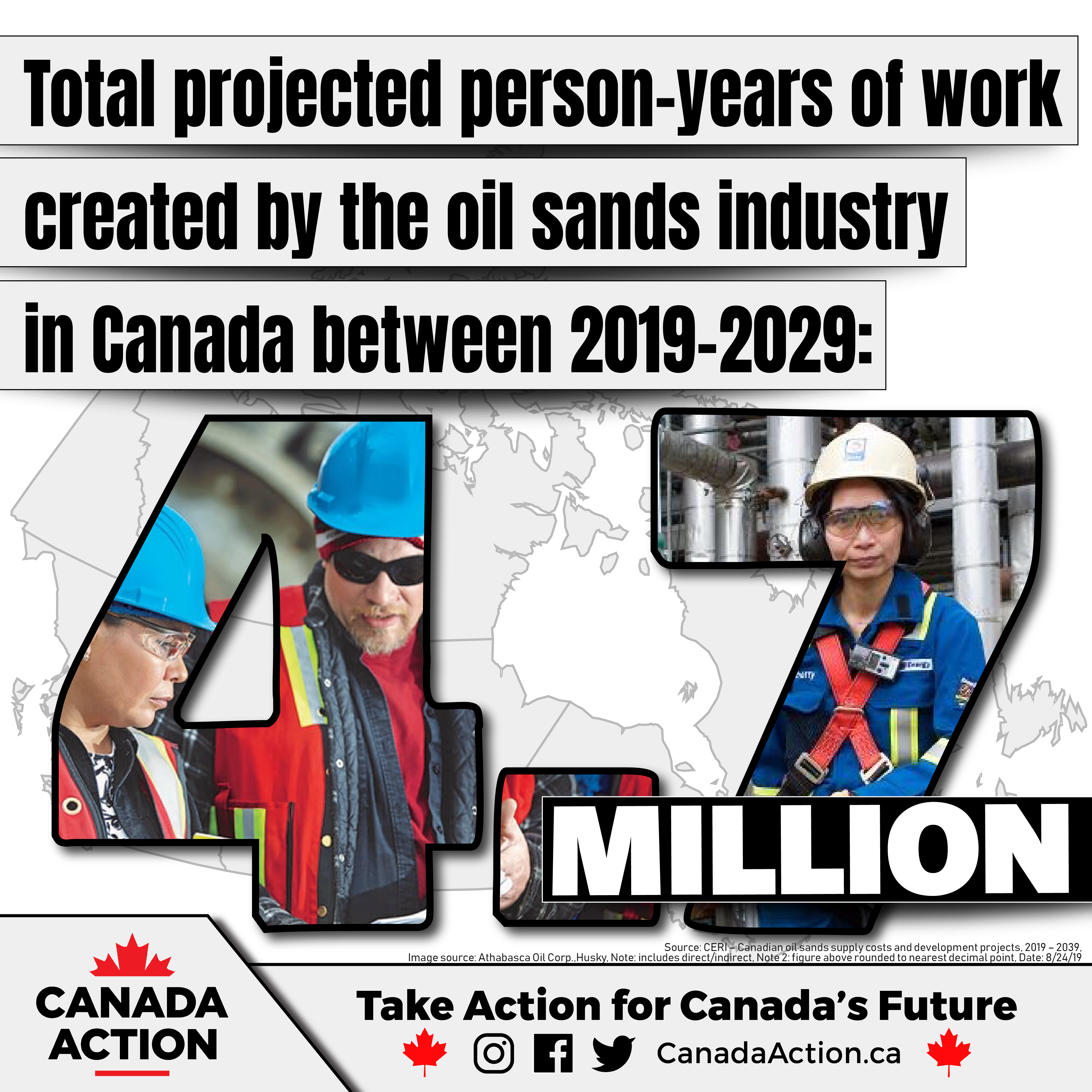 CERI - 4.7 million person-years of employment created by oil sands industry in Canada between 2019-2029