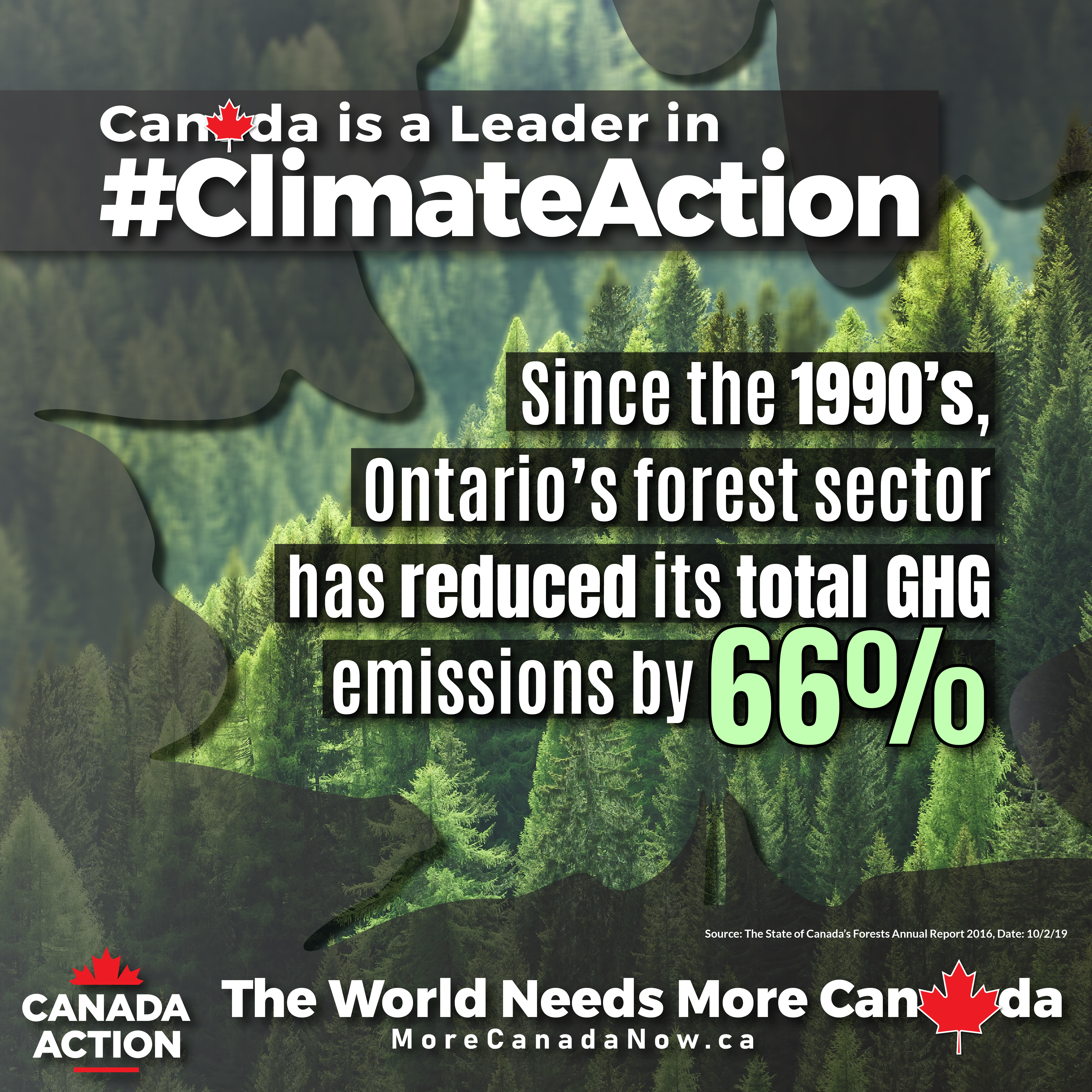 Ontario forest industry emissions, down by 66% since 1990s