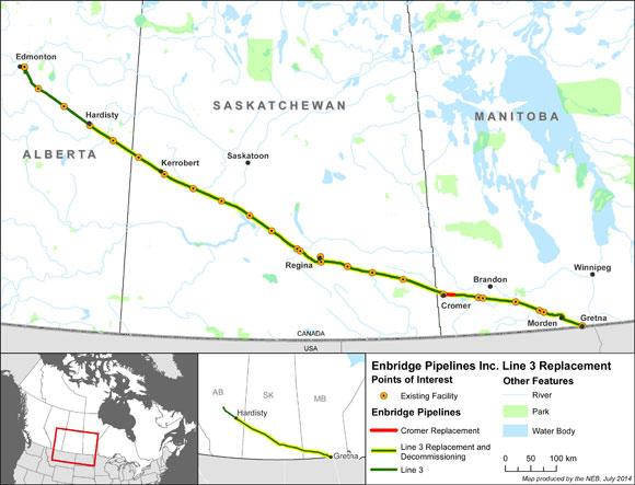 Enbridge Line 3 Replacement Project map