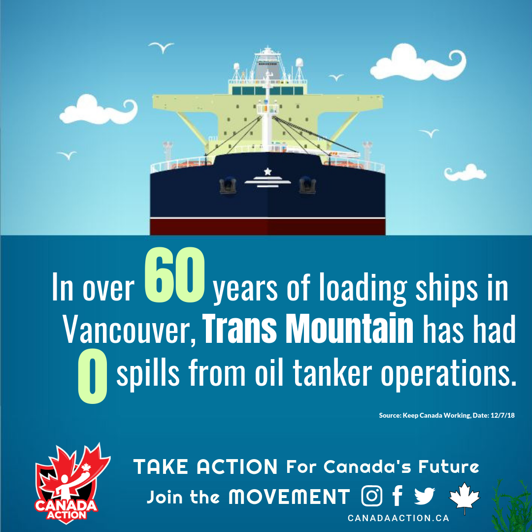 trans mountain has operated safely for over 60 years with no tanker spills