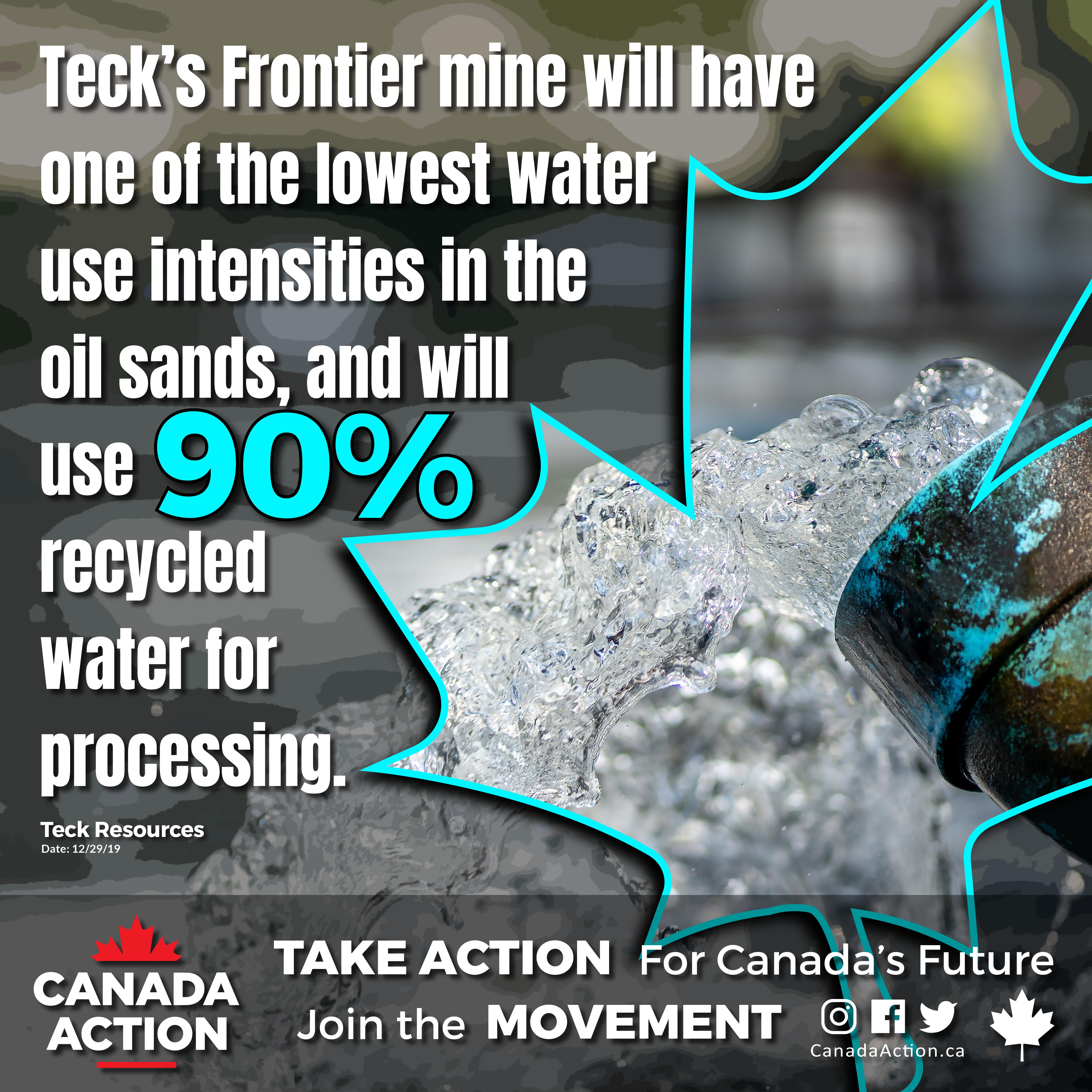 teck frontier mine water use intensity lowest in oil sands