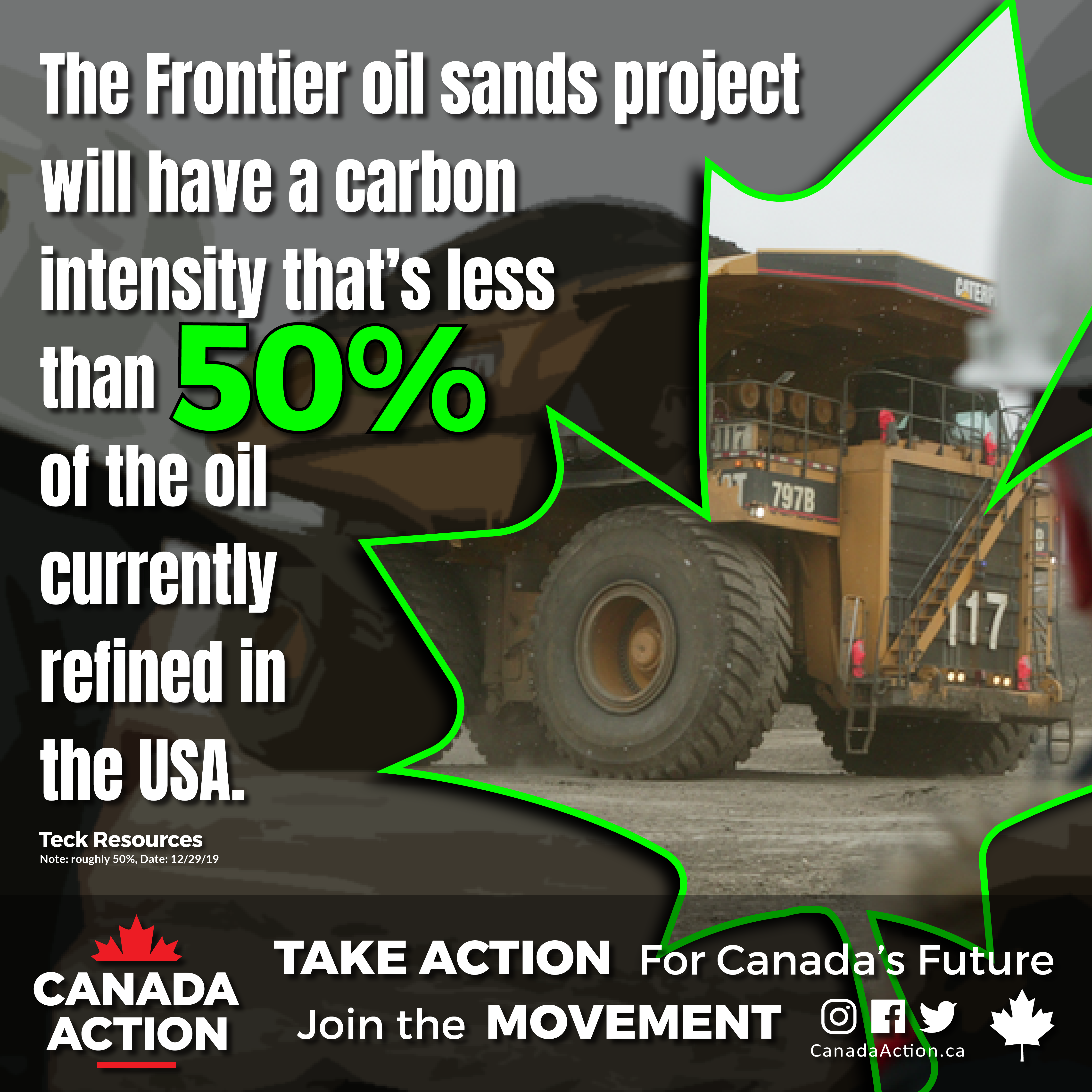 teck frontier mine oil sands intensity less than 50% of USA oil