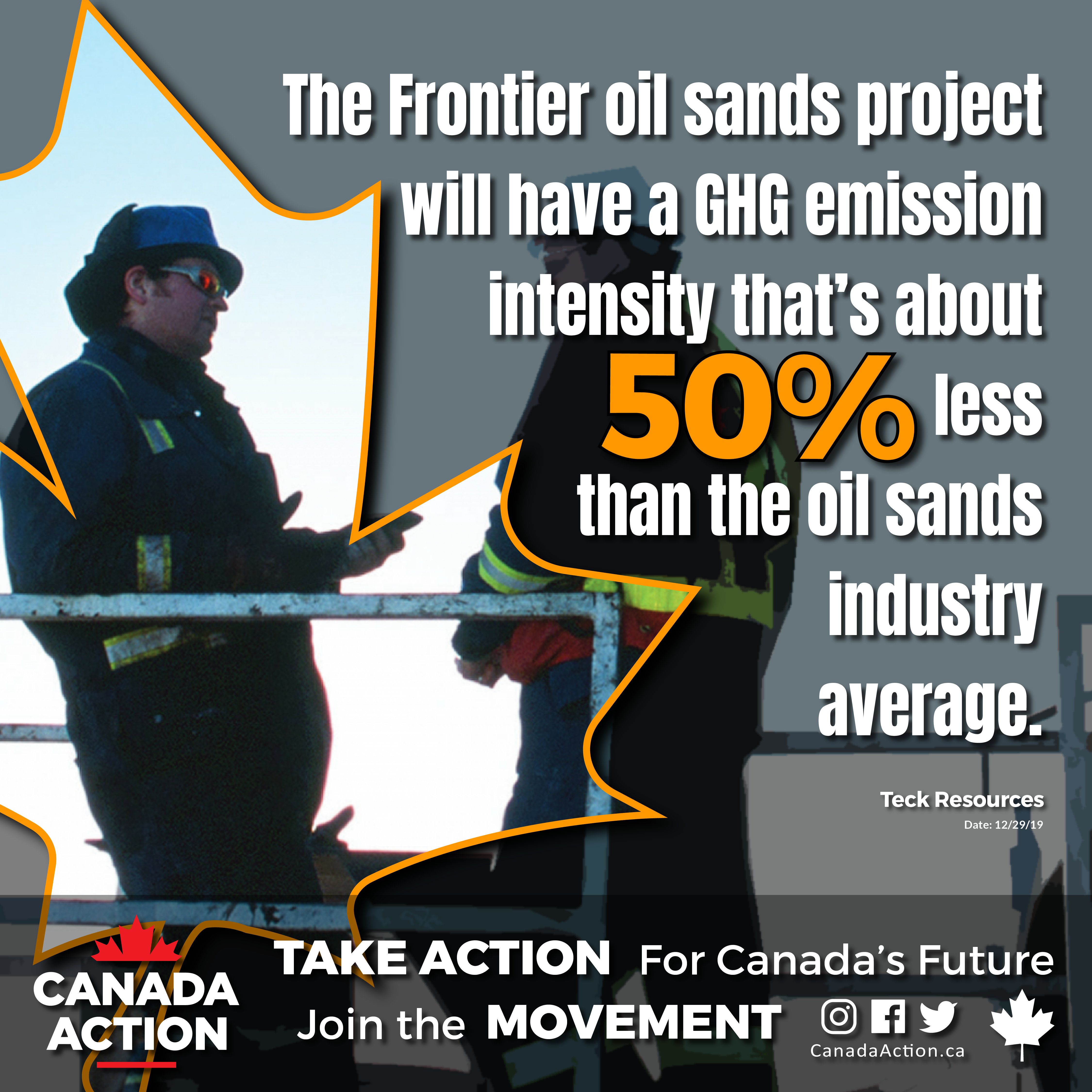 Teck Frontier Mine - GHG Emission Intensity 50% less than oil sands industry average