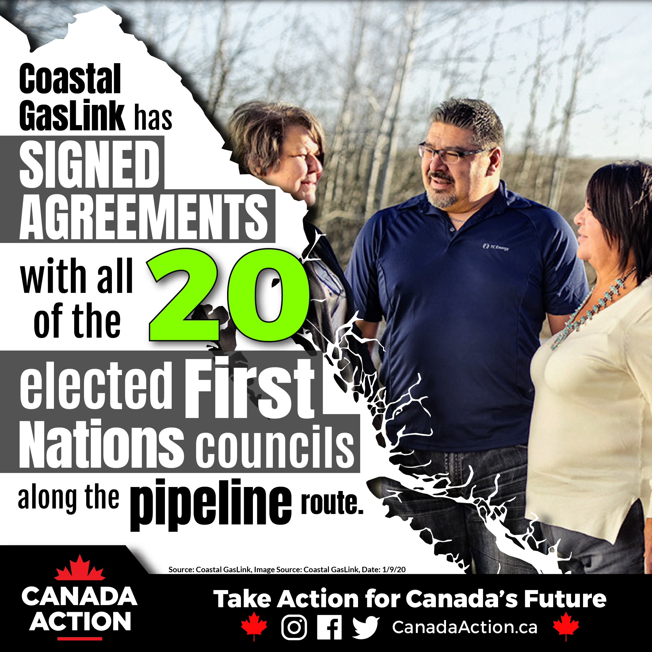 All 20 First Nations Along Coastal GasLink Pipeline Route Support Project