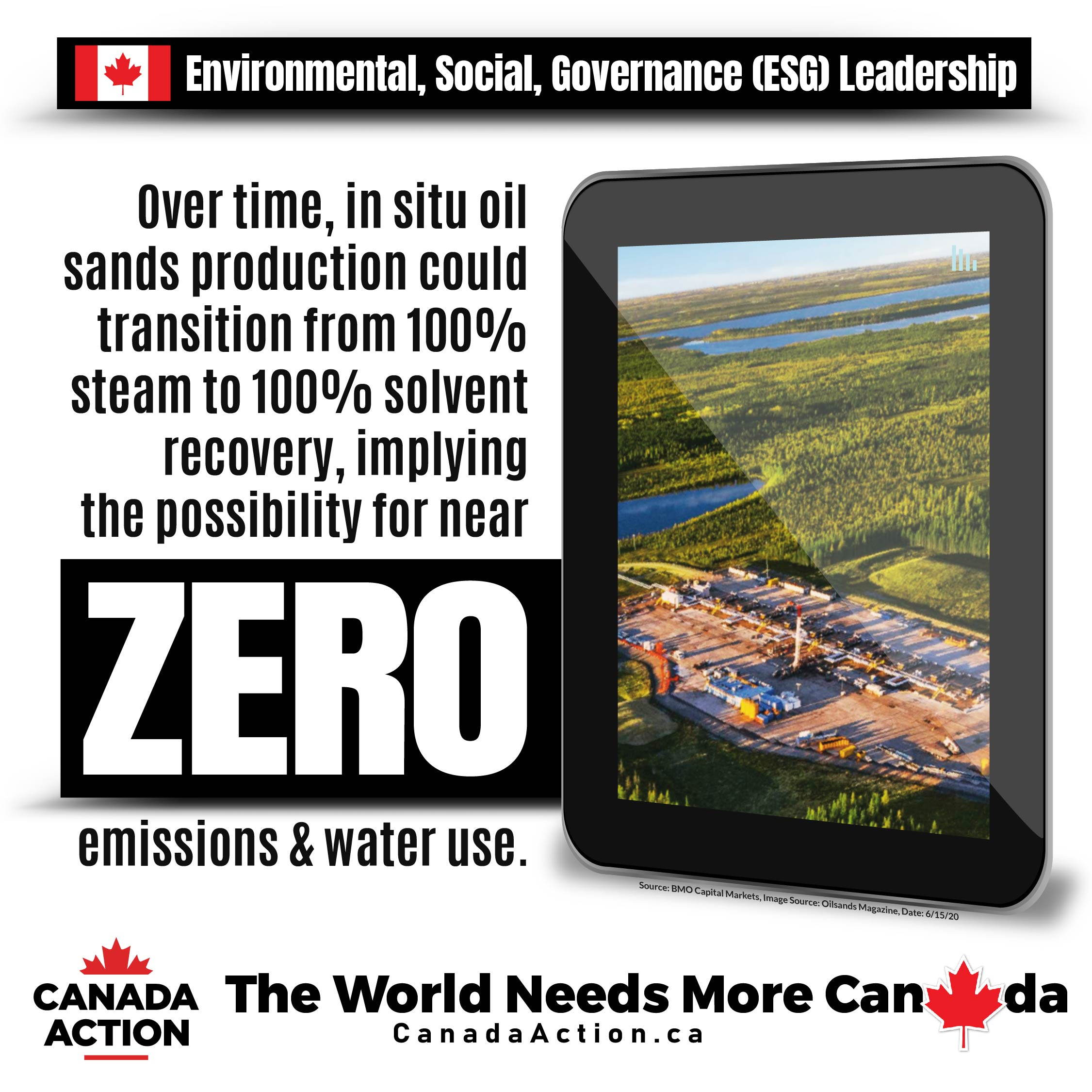 Canada's oil sands in situ potential for zero emissions and water use