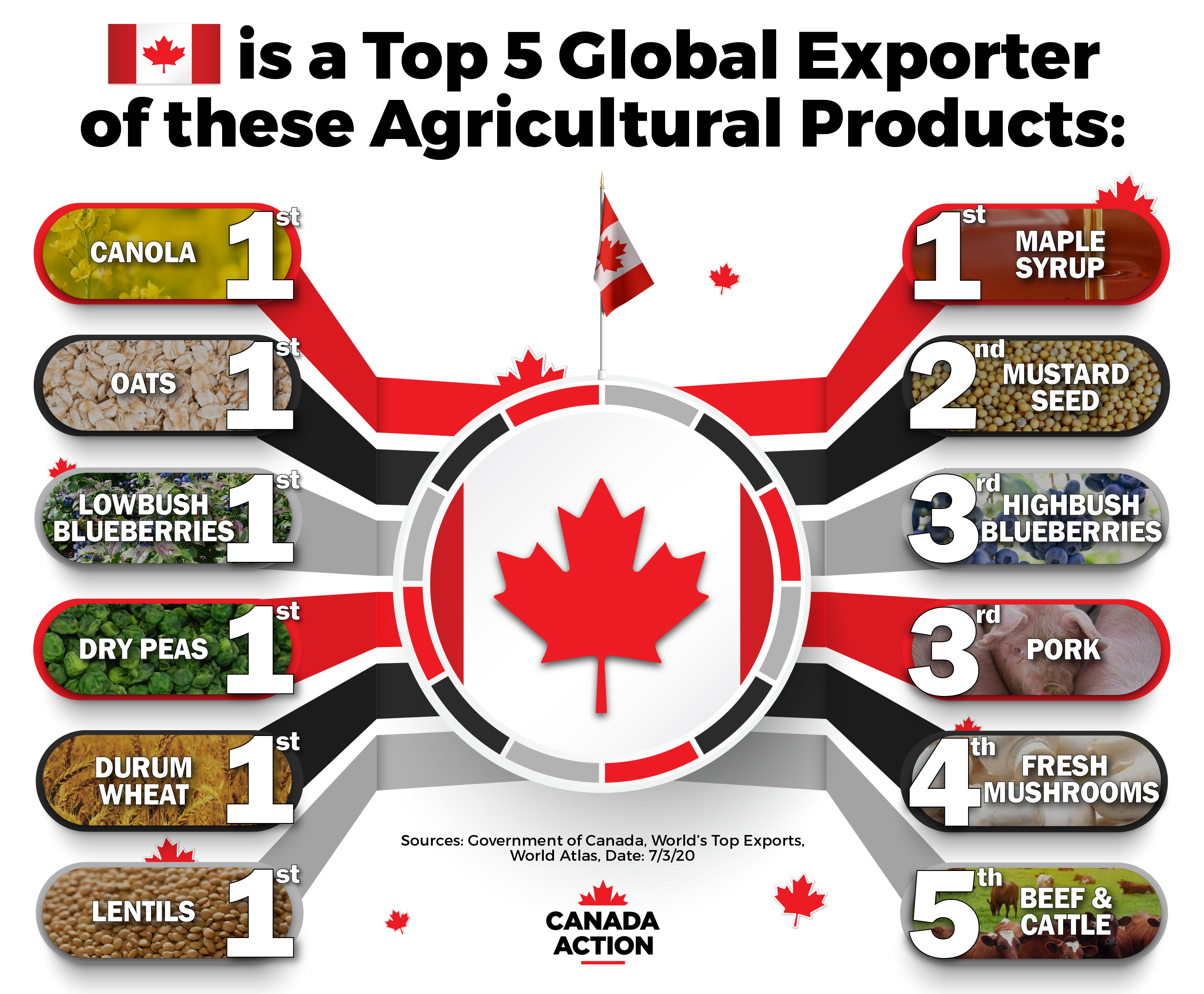 Canada is a top 10 global exporter of many agricultural products