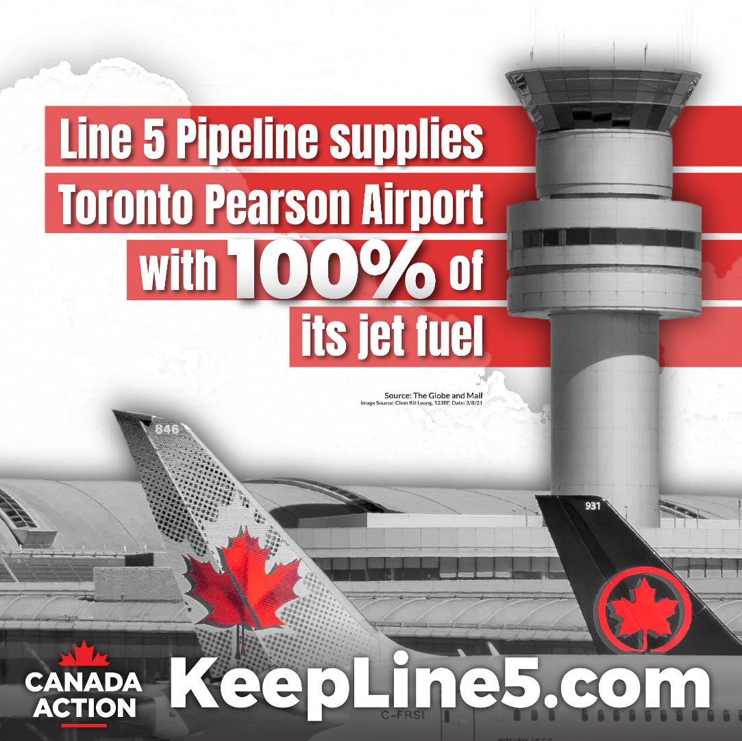 Line 5 pipeline supplies Toronto Pearson Airport with 100% of its jet fuel