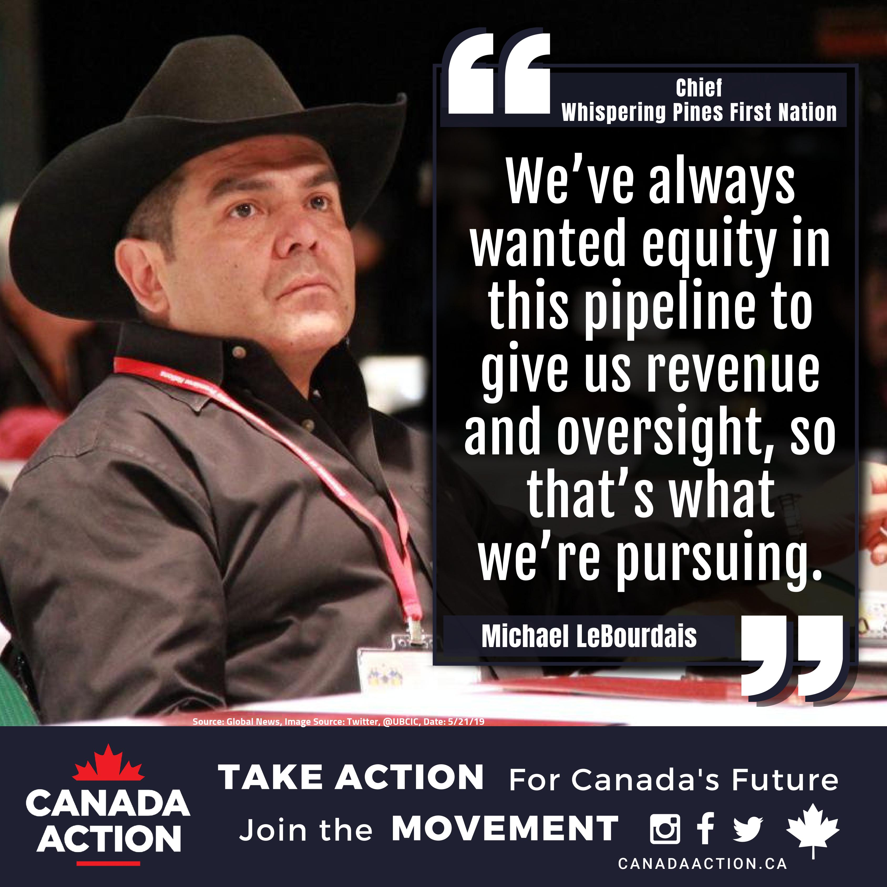 Michael Lebourdais, Chief Whispering Pines First Nation, Clinton Indian Band, Trans Mountain Support