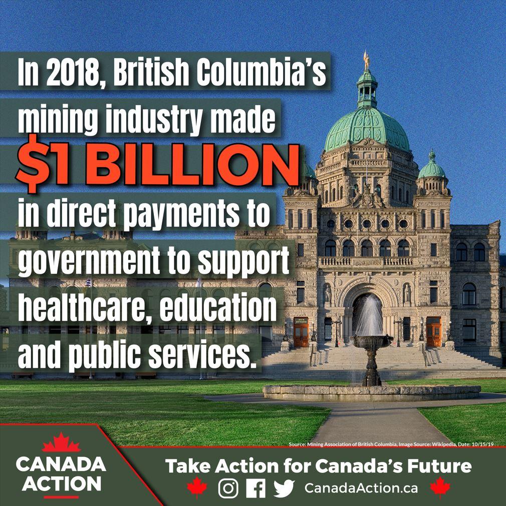 british columbia mining industry 1 billion generated government revenues