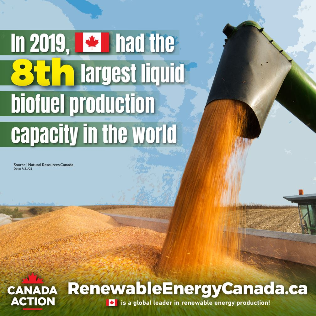 Canada is home to the 8th largest liquid biofuel production capacity in the world