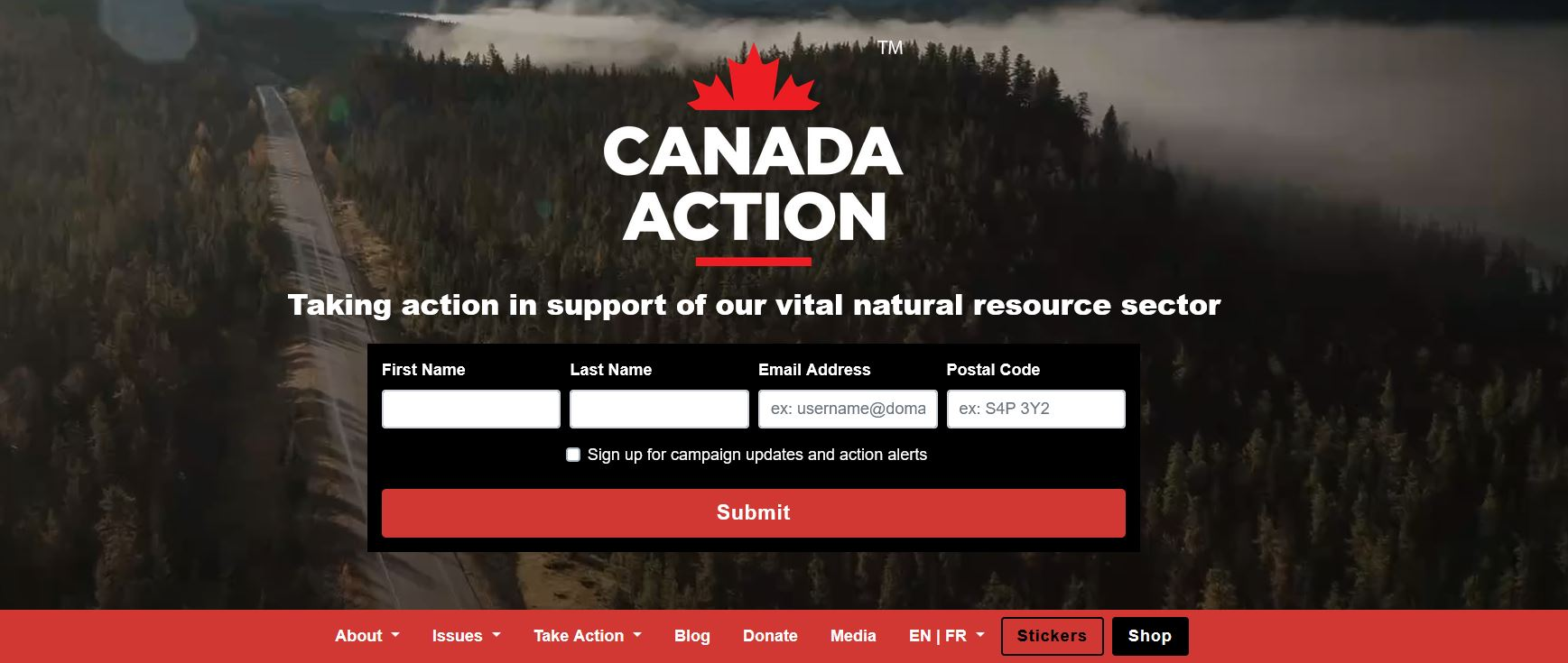 Canada Action Homepage Snip