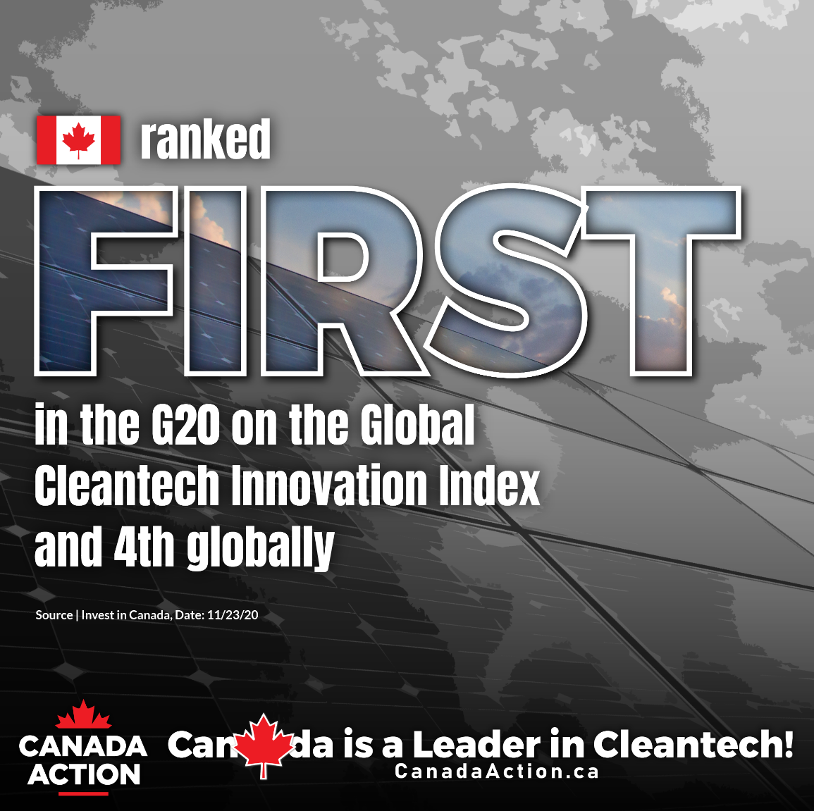 Canada Ranked 1st on the Global Cleantech Innovation Index of the G20, and 4th Globally