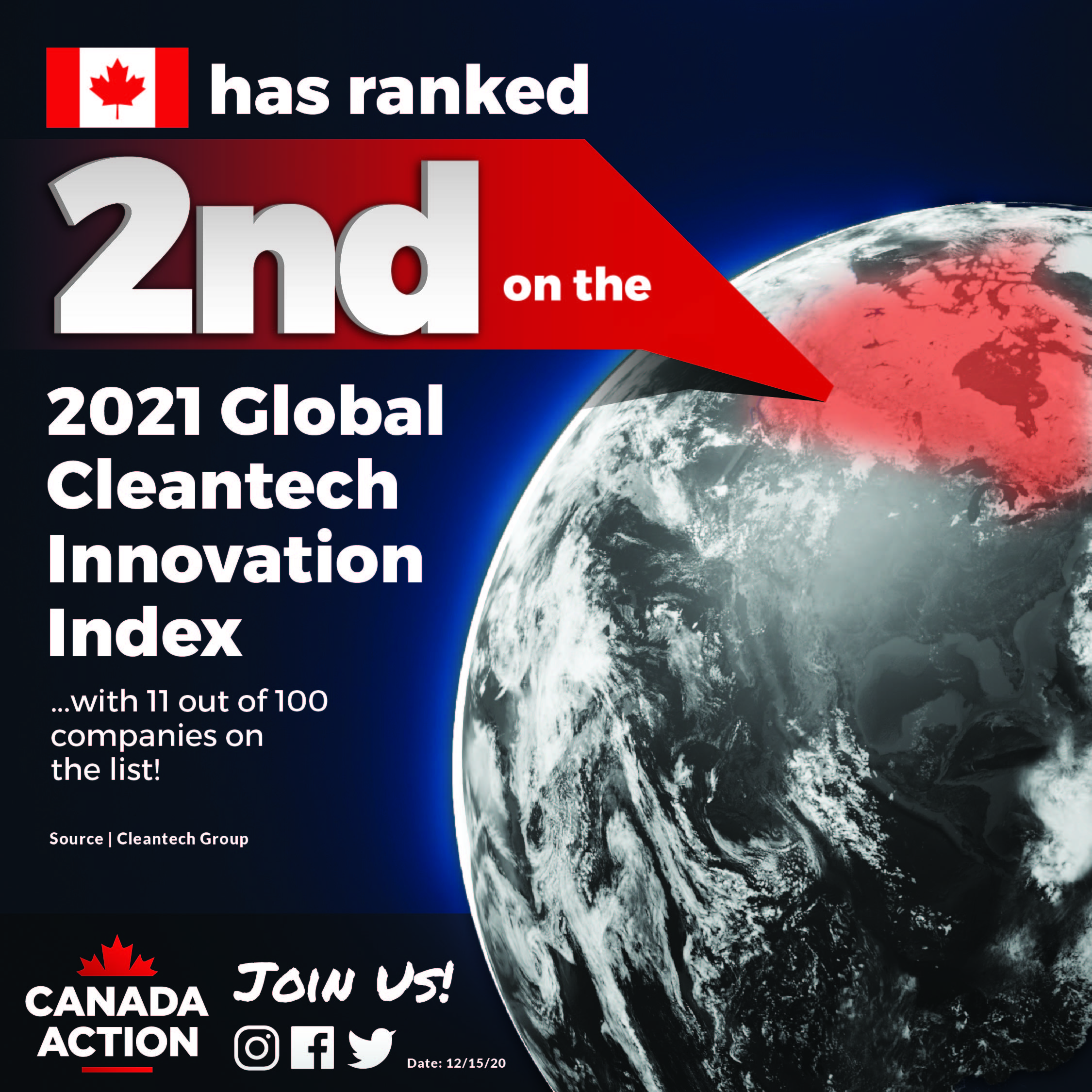 Canada has ranked 2nd on Cleantech Group's Top 100 Companies in 2021