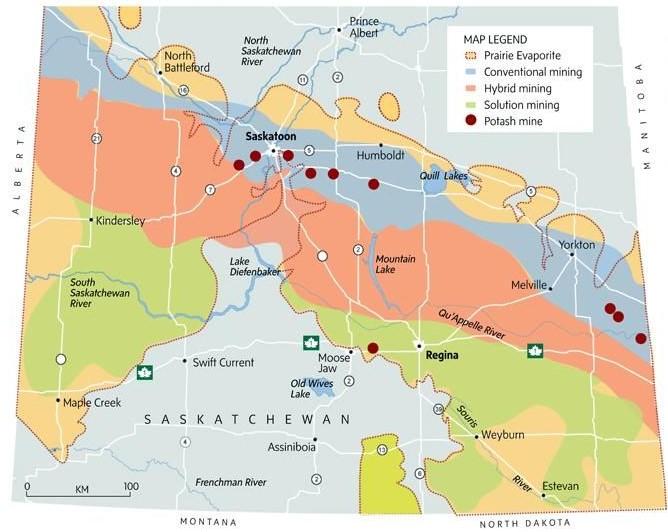 Saskatchewan Potash Deposits - Mines and Mining Methods Map