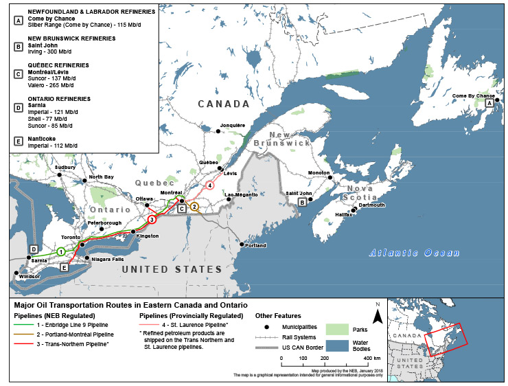 Eastern Canadian Refineries Map - CER
