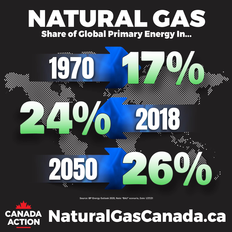 natural gas demand through to 2050 - bp energy outlook BAU 2020