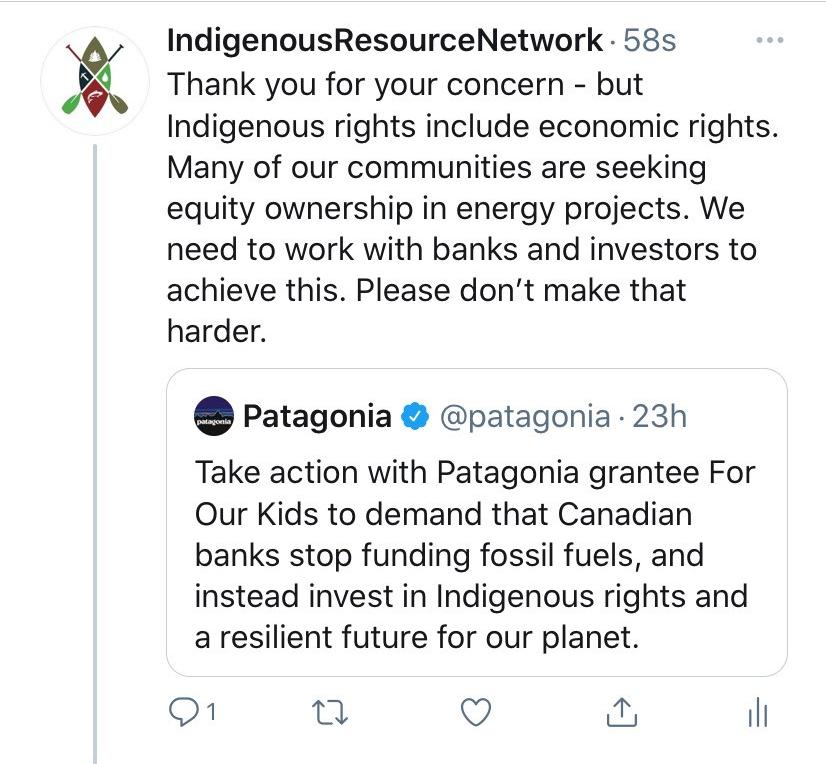 patagonia tweet indigenous resource network