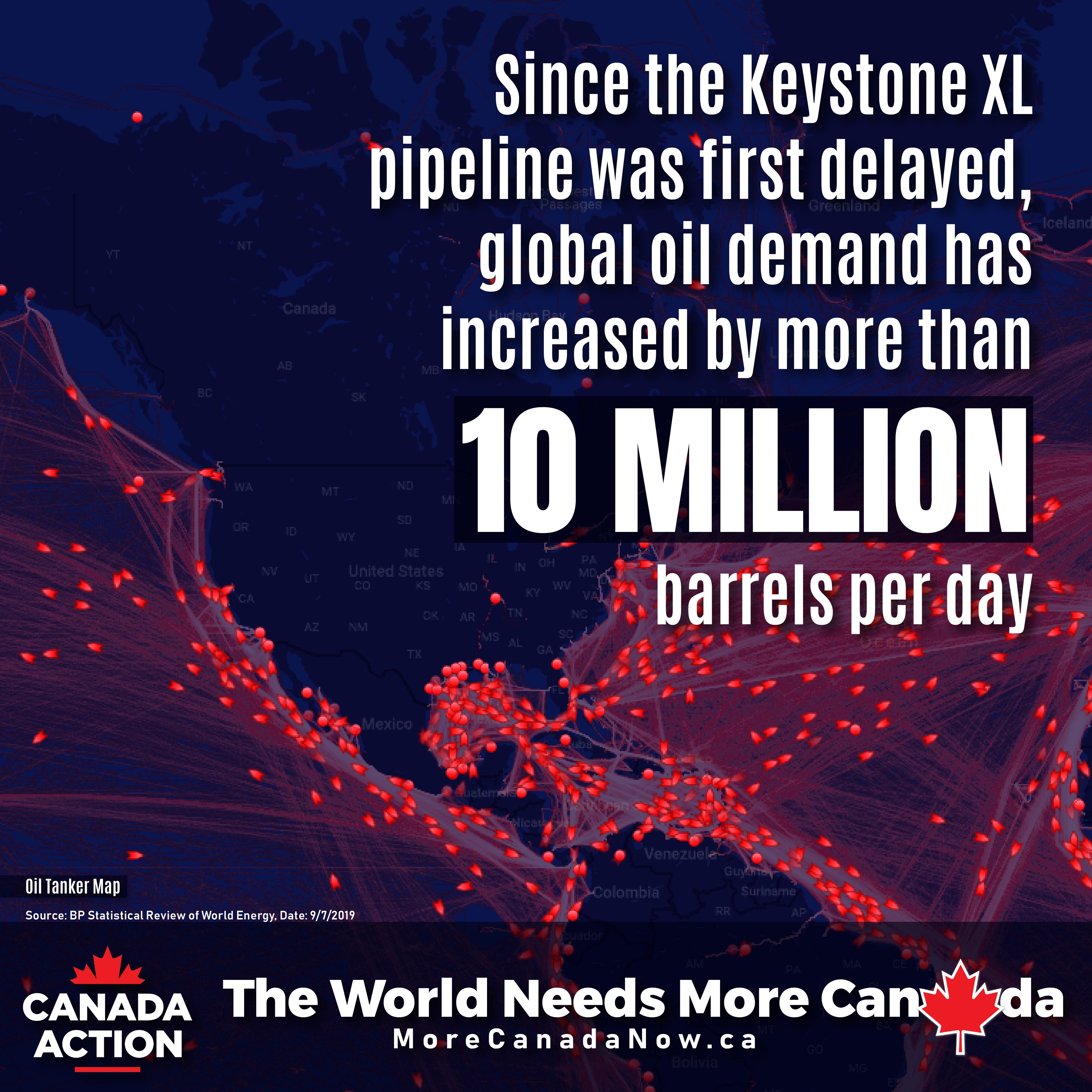 Since Keystone XL was first delayed, global demand for oil has grown by 10 million barrels per day