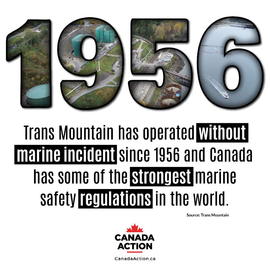 trans mountain operation since 1956 without marine incident