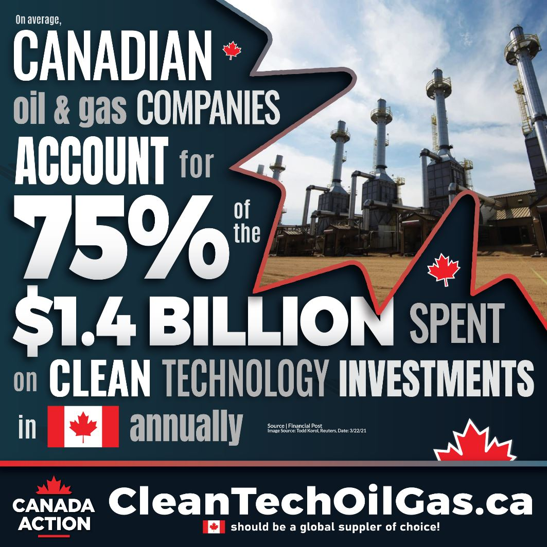 Canadian Oil and Gas Accounts for 75 Percent of Clean Tech Invesmtents in Canada Annually