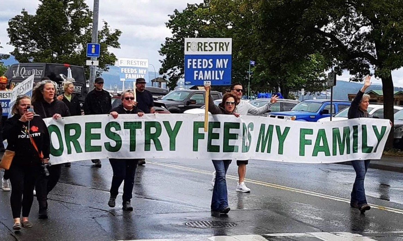 pro-forestry protestors in British Columbia