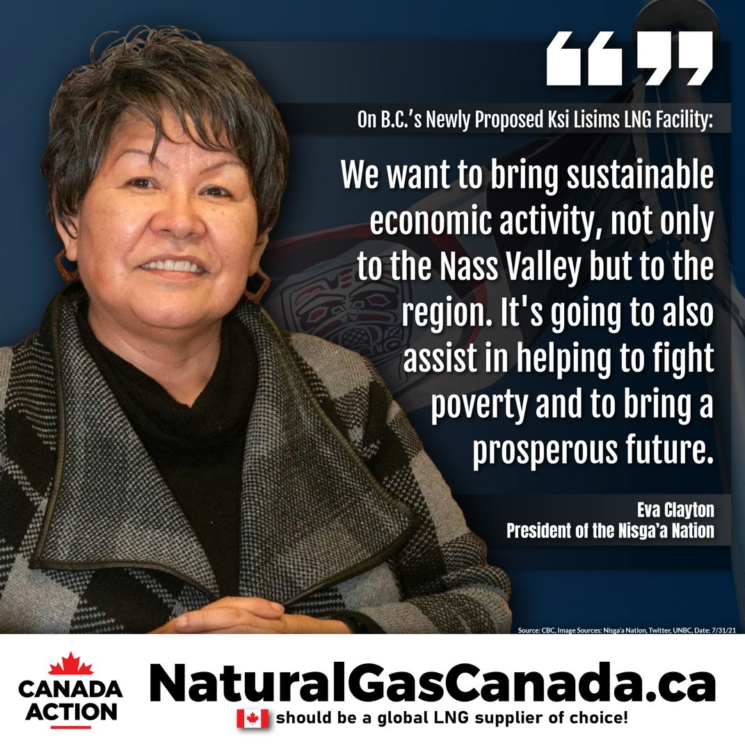 eva clayton supports Ksi Lisims LNG project in Canada