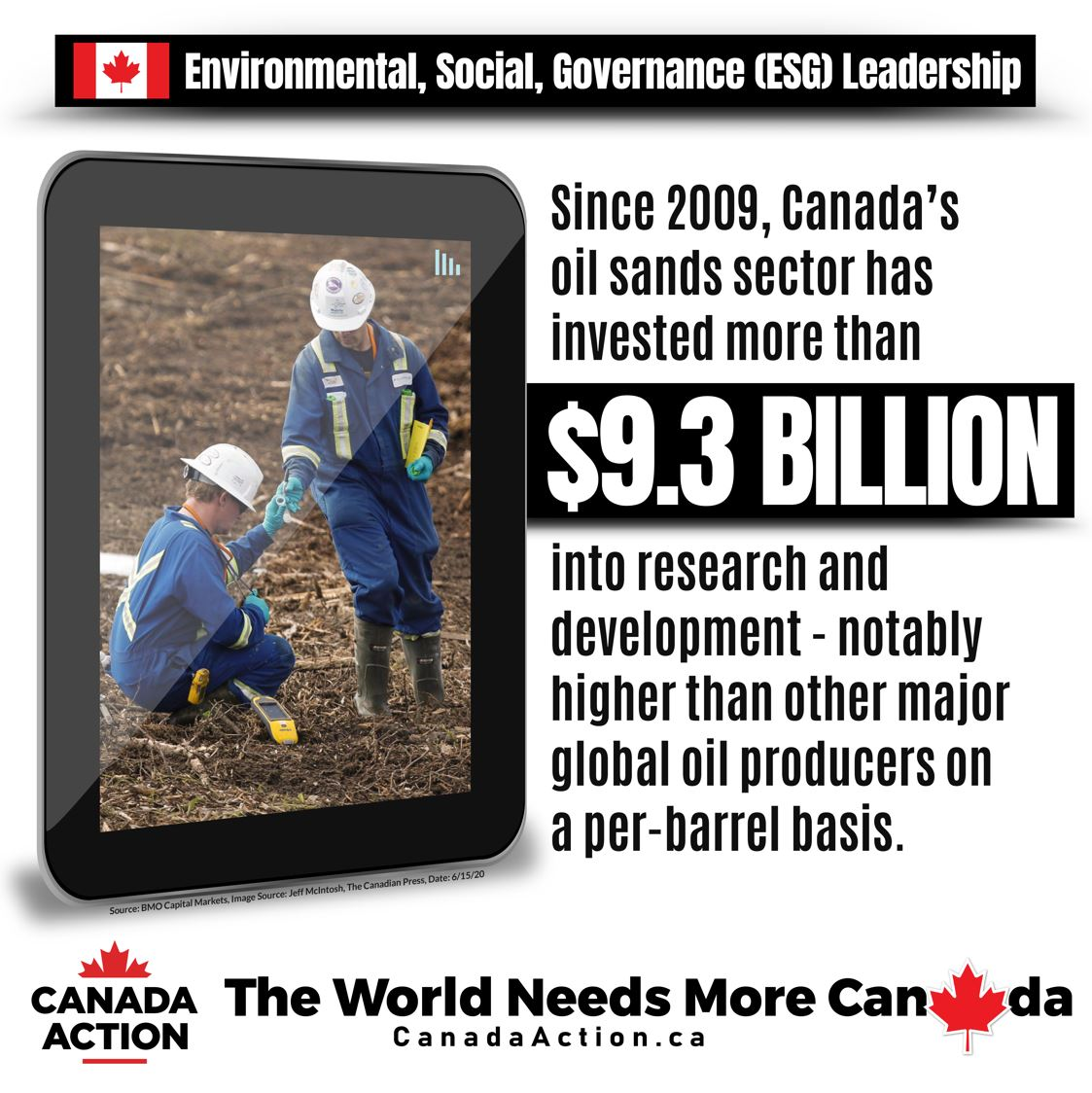 Canada's ESG leadership - oil and gas sector spent $9.3 billion on research and development since 2009